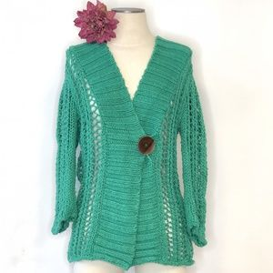 FREE PEOPLE green hooded open knit cardigan #FF2